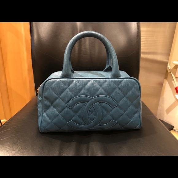 351bb2aa5beefd CHANEL Bags | Caviar Cc Bowler Blue Small Bag | Poshmark